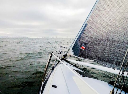 Sportovní loď s kosatkou